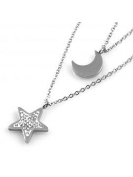 collana donna stellina e luna ciondoli in acciaio e strass