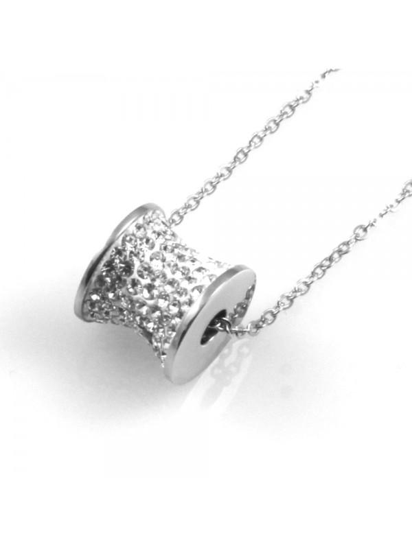 collana donna cilindro ciondolo in acciaio e strass