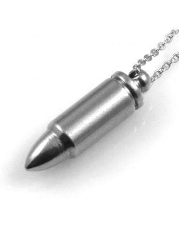 collana uomo proiettile ciondolo in acciaio