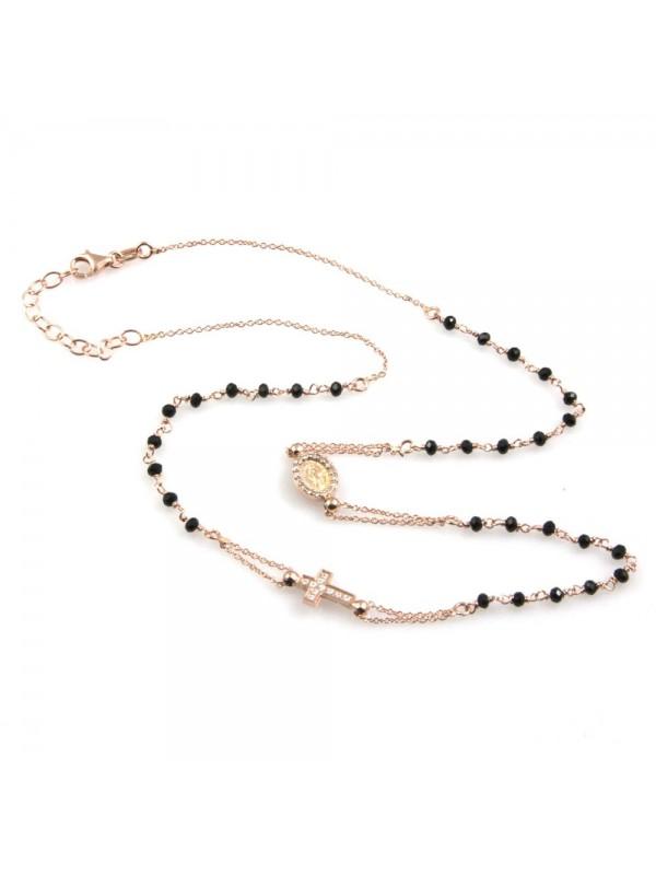 collana rosario uomo donna in argento 925 ramato e strass