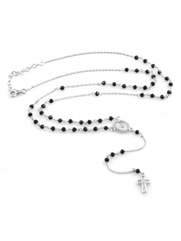 collana rosario uomo donna in acciaio 925 e strass
