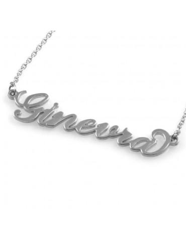collana con nome Ginevra in acciaio da donna