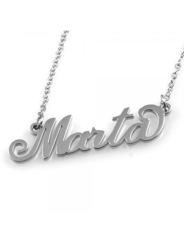 collana con nome Marta in acciaio da donna