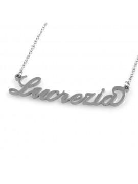 collana con nome Lucrezia in acciaio da donna