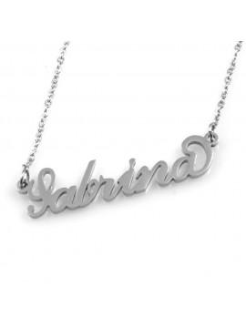 collana con nome Sabrina in acciaio da donna