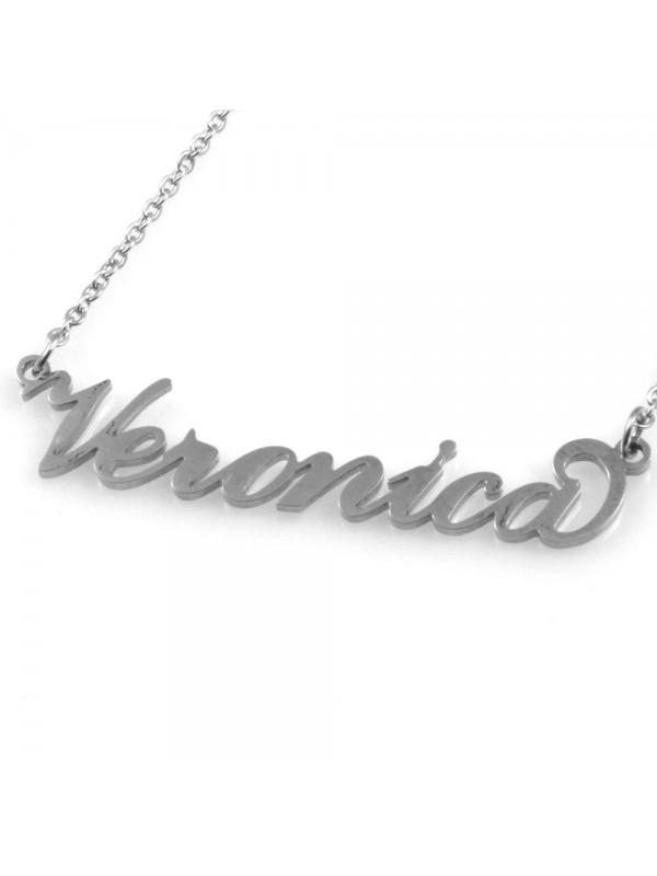 collana con nome Veronica in acciaio da donna