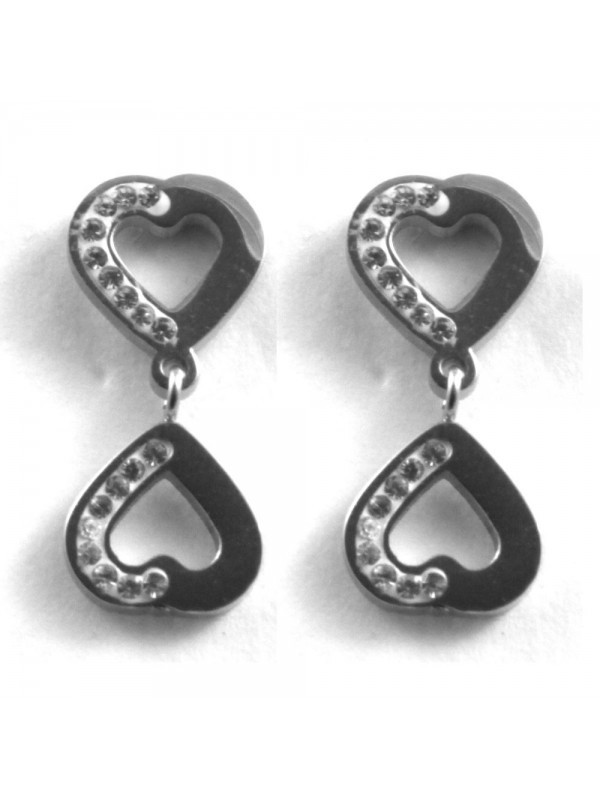 orecchini cuore donna pendenti in acciaio e strass a vite
