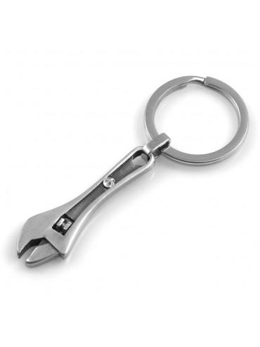portachiavi uomo con chiave inglese meccanico in acciaio