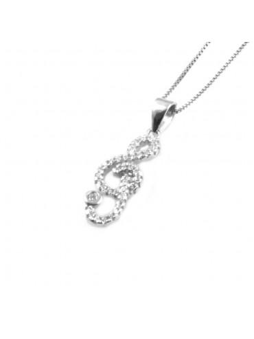 collana con chiave di sol violino ciondolo pendente in argento 925 - cll1808