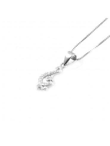 collana con chiave di sol violino ciondolo pendente in argento 925 - cll1809