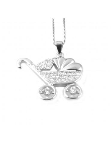 collana con carrozzina passeggino donna in argento 925 - cll1811