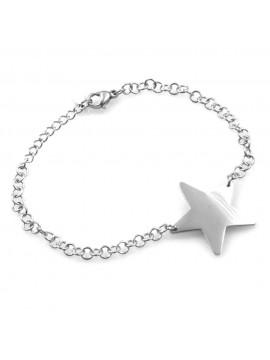 bracciale donna con stella stellina in acciaio ottimo da personalizzare con incisione