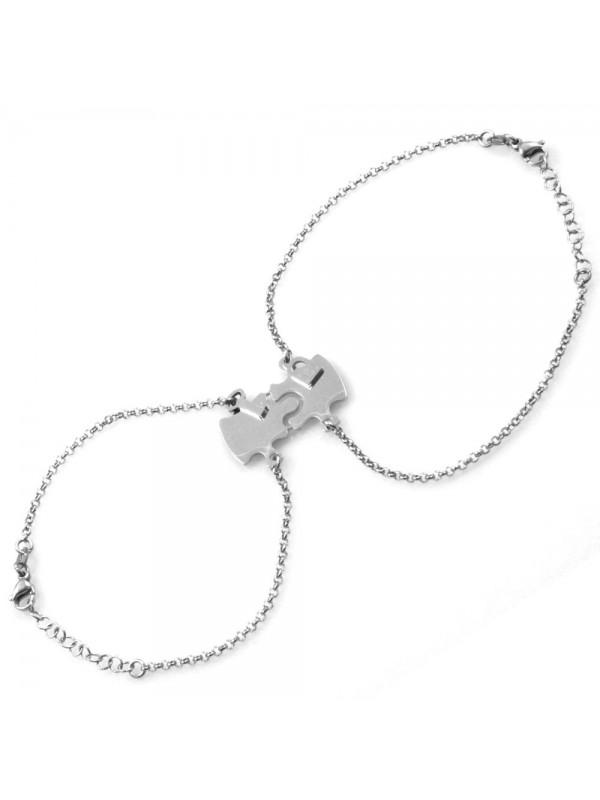 bracciale per coppie fidanzati innamorati puzzle che si spezza o divide in acciaio