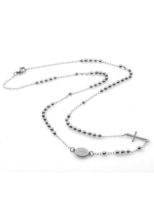 collana rosario uomo donna in acciaio inossidabile