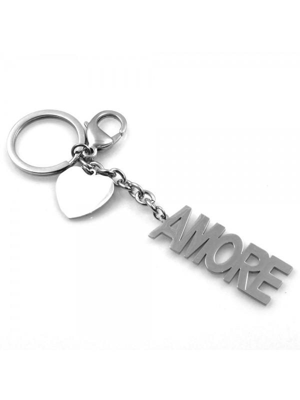 portachiavi uomo donna scritta amore in acciaio personalizzabile con incisione