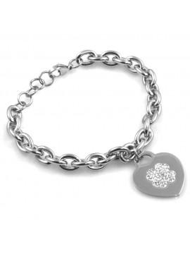 bracciale donna con cuore e quadrifoglio in acciaio e strass bcc2519