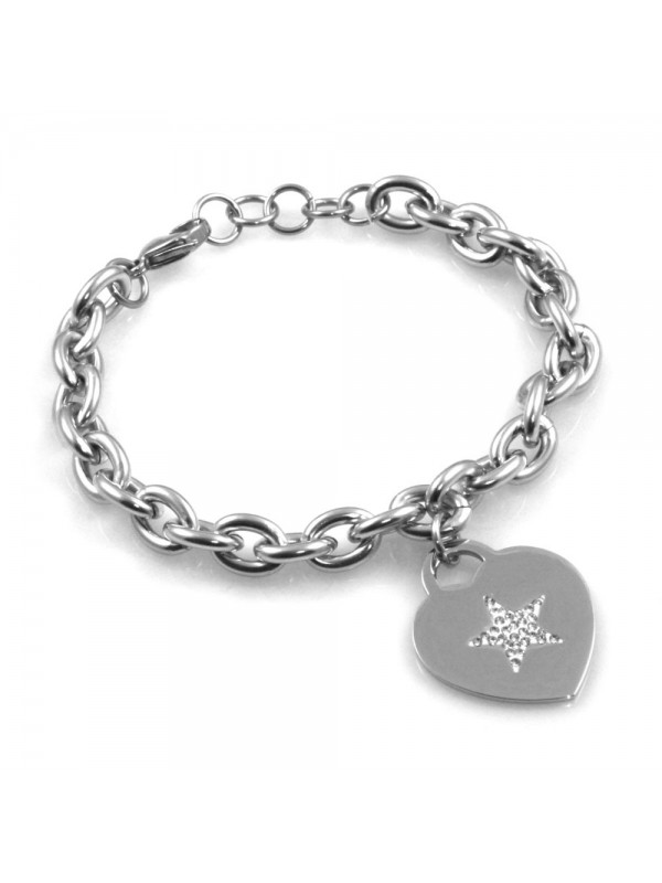 bracciale donna con cuore e stella in acciaio e strass bcc2521