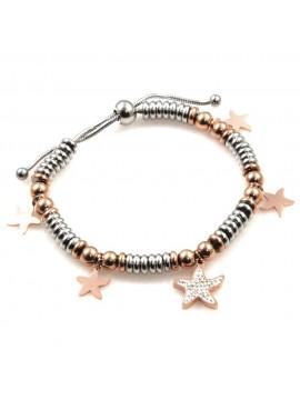 bracciale donna con stella marina in acciaio bicolore bcc2525