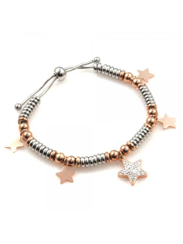 bracciale donna con stella e stelline in acciaio bicolore bcc2526
