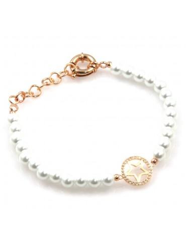 bracciale donna con stellina in bronzo perle e strass bcc2538