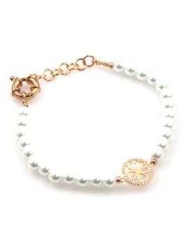 bracciale donna con quadrifoglio in bronzo perle e strass bcc2539