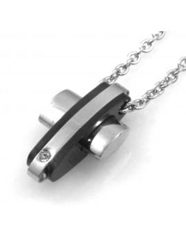 collana uomo ciondolo croce in acciaio bicolore nero cll1839