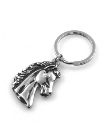 portachiavi uomo con testa di cavallo particolare in acciaio prt0243