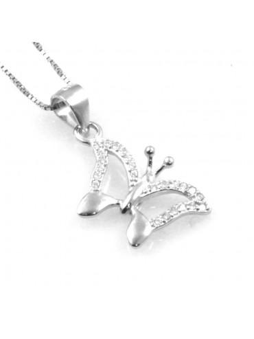 collana con ciondolo pendente farfalla in argento e strass
