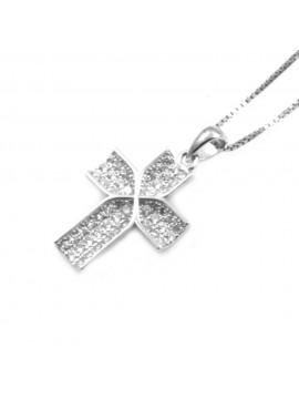 Collana con croce ciondolo donna in argento 925 strass bianchi rodiato non scurisce catenina cm 42 mm 24 mm 13 - cln0332