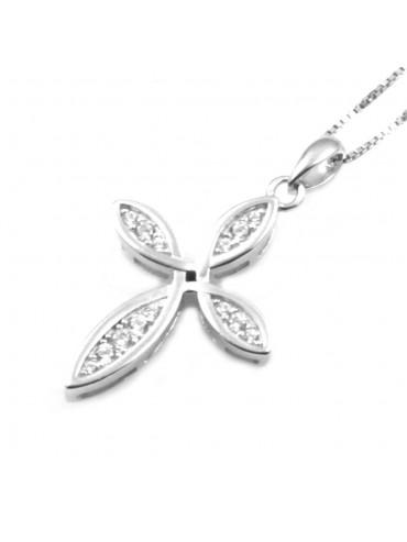 Collana con croce ciondolo donna in argento 925 strass bianchi rodiato non scurisce catenina cm 42 mm 30 mm 18 - cln0334