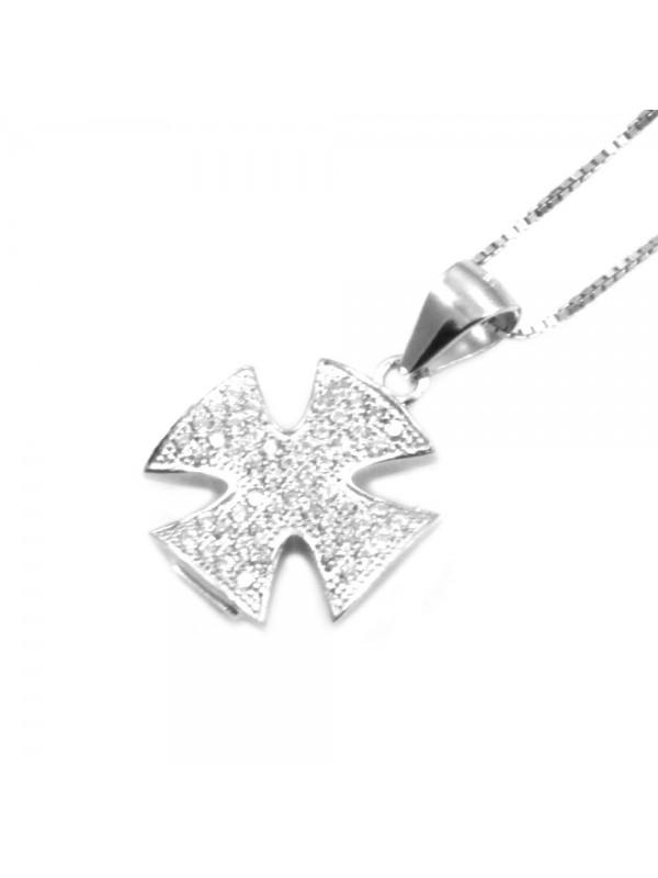Collana con croce di malta ciondolo in argento 925 strass bianchi rodiato non scurisce catenina cm 42 mm 18 mm 14 - cln0337
