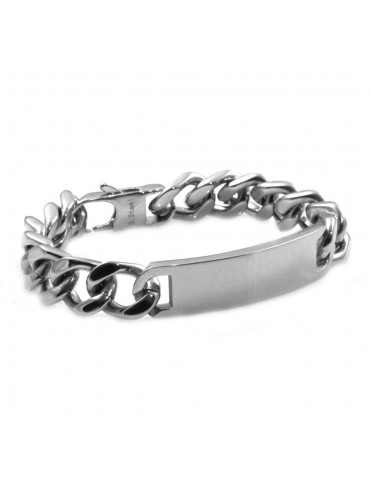 bracciale grumetta in acciaio con piastra ottimo da incidere