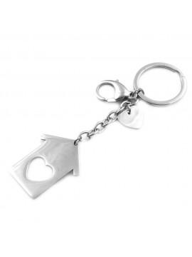Portachiavi donna casa con cuore in acciaio ottimo per incisioni prt0001