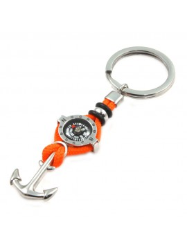 portachiavi uomo con bussola e ancora in acciaio e cordoncino arancio prt0236