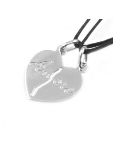 collana cuore che si spezza in argento scritta amore