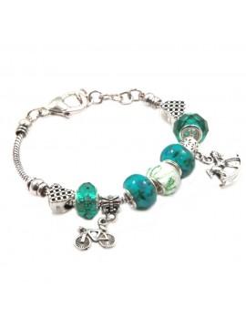 bracciale donna con beads colorati e charms in accaio bcc2449