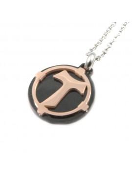 collana con tau francescano in acciaio cll1369