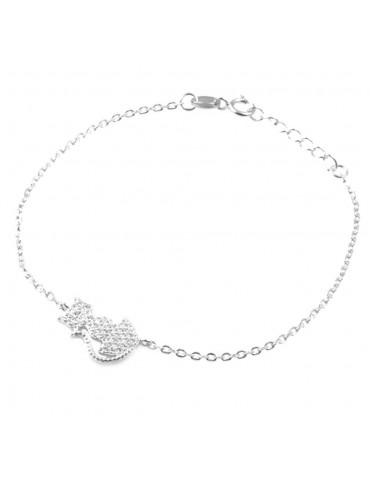 bracciale con gatto o gattino donna in argento 925 e strass bcc1589
