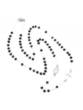 Collana rosario uomo donna in acciaio grani neri cll0565