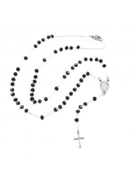 Collana rosario uomo donna in acciaio grani neri cll0566