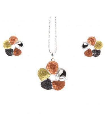 Parure donna collana e orecchini in bronzo e glitter fiore par0002
