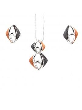 Parure donna collana e orecchini in bronzo e glitter rombo par0003