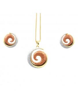 Parure donna collana e orecchini in bronzo dorato e glitter spirale par0005