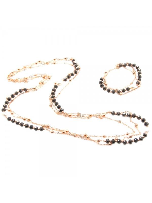 Parure donna collana e bracciale in bronzo pietre perle e cristalli par0009