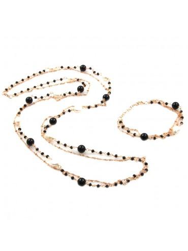 Parure donna collana e bracciale in bronzo pietre perle e cristalli par0010