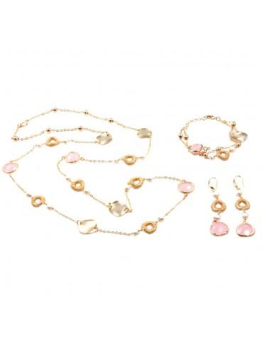 Parure donna collana bracciale e orecchini in bronzo e cristalli rosa par0013