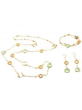 Parure donna collana bracciale e orecchini in bronzo e cristalli verdi par0014