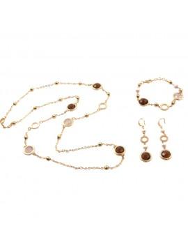 Parure donna collana bracciale e orecchini in bronzo e cristalli ambra par0015