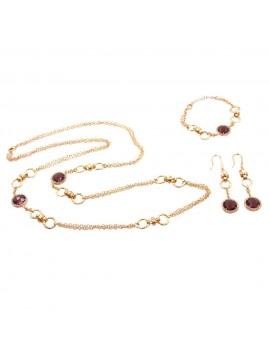 Parure donna collana bracciale e orecchini in bronzo e cristalli viola par0016