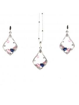 Parure donna collana e orecchini in bronzo e cristalli colorati par0017